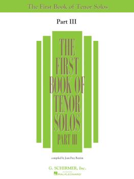 First Book of Tenor Solos - Part III (HL-50485886)