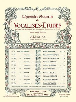 Vocalise-Etude pour Voix Moyennes (for Medium Voice and Piano) (HL-48180345)