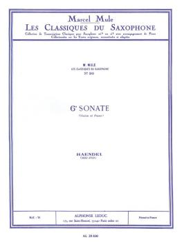 6e Sonate de Haendel [6th Sonate of Handel] (for Saxophone and Piano) (HL-48181365)