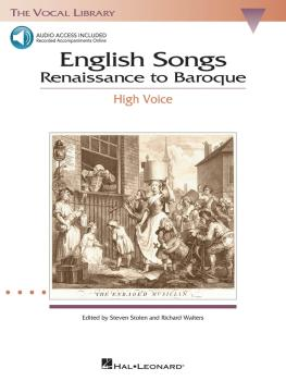 English Songs: Renaissance to Baroque: The Vocal Library High Voice (HL-00740179)