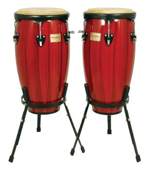 Artist Hand-Painted Series Red Conga and Tumba: 11-3/4 inch. & 12-1/2  (TY-00755099)