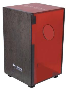 29 Series Cherry Red Acrylic Cajon - Black Makah Burl Front Plate (TY-00755253)