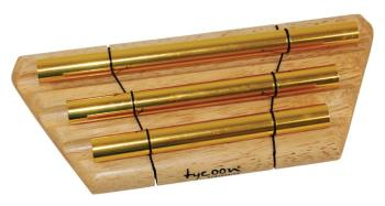 3 Gold Plated Chimes on Siam Oak Bar (TY-00755653)